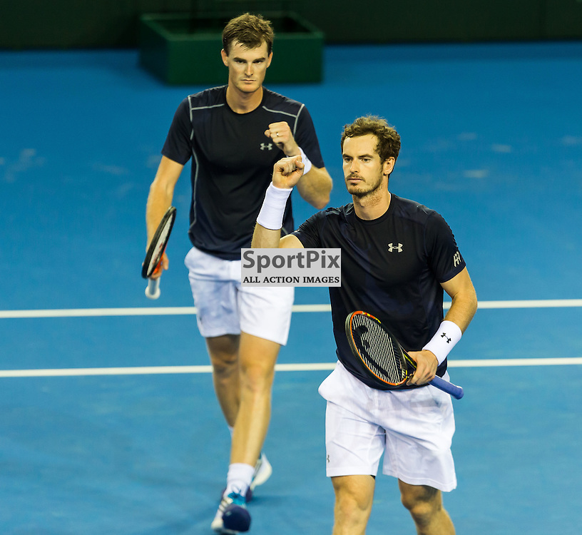 Jamie and Andy Murray in action during the Davis Cup Semi-final between Great Britian and Australia (c) ROSS EAGLESHAM | Sportpix.co.uk