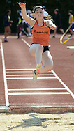 WARMINSTER, PA - MAY 1: Pennsbury's Rebecca Susko competes in the long jump during the Montgomery Memorial Track and Field Meet May 1, 2014 at William Tennent High School in Warminster, Pennsylvania. (Photo by William Thomas Cain/Cain Images)