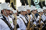 Members of the Coppell High School marching band in Texas add an international flavour to the St Patrick's Day Parade in Westminster, London.<br /> Picture by Paul Davey/Focus Images Ltd +447966 016296<br /> 13/03/2016