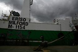 SPAIN GALICIA OZA 25AUG11 - Abandoned fishing vessels, mostly registered in the UK lie abandoned in the port of Oza in La Coruna, Galicia, Spain.....jre/Photo by Jiri Rezac....© Jiri Rezac 2011