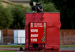 NEWPORT, WALES - Tuesday, June 12, 2018: The scoreboard records Wales' 3-0 victory over Russia during the FIFA Women's World Cup 2019 Qualifying Round Group 1 match between Wales and Russia at Newport Stadium. (Pic by David Rawcliffe/Propaganda)