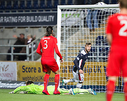 Falkirk's Rory Loy scoring their goal. Falkirk 1 v 3 Rangers, Scottish League Cup game played 23/9/2014 at The Falkirk Stadium.