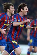 Barcelona's Lionel Messi celebrates during match. March 17, 2010. Camp Nou, Barcelona.
