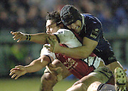 2005/06 Powergen Cup, Bath Rugby vs Gloucester Rugby, Bath's  Danny Crewcock,[right] tackles Gloucester Terry Fanoloua in the closing stages of after Bath Rugby's win over Gloucester Rugby at, The Rec, on the 03.12.2005.   © Peter Spurrier/Intersport Images - email images@intersport-images..