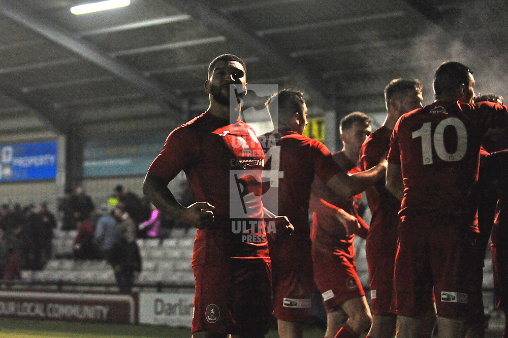 TELFORD COPYRIGHT MIKE SHERIDAN Ellis Deeney celebrates during the Vanarama Conference North fixture between Darlington and AFC Telford United at Blackwell Meadows on Saturday, November 30, 2019.<br /> <br /> Picture credit: Mike Sheridan/Ultrapress<br /> <br /> MS201920-032