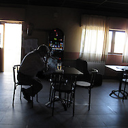 Bar in Montamarta, Zamora province . Spain . The WAY OF SAINT JAMES or CAMINO DE SANTIAGO following the Silver Way, between Seville and Astorga, SPAIN.Tradition says that the body and head of St. James, after his execution circa. 44 AD, was taken by boat from Jerusalem to Santiago de Compostela. The Cathedral built to keep the remains has long been regarded as important as Rome and Jerusalem in terms of Christian religious significance, a site worthy to be a pilgrimage destination for over a thousand years. In addition to people undertaking a religious pilgrimage, there are many travellers and hikers who nowadays walk the route for non-religious reasons: travel, sport, or simply the challenge of weeks of walking in a foreign land. In Spain there are many different paths to reach Santiago. The three main ones are the French, the Silver and the Coastal or Northern Way. The pilgrimage was named one of UNESCO's World Heritage Sites in 1993. When there is a Holy Compostellan Year (whenever July 25 falls on a Sunday; the next will be 2010) the Galician government's Xacobeo tourism campaign is unleashed once more. Last Compostellan year was 2004 and the number of pilgrims increased to almost 200.000 people.