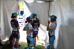 Trek-Drops Cycling Team riders wait in the shade for sign-on Stage 1 of the Amgen Tour of California - a 124 km road race, starting and finishing in Elk Grove on May 17, 2018, in California, United States. (Photo by Balint Hamvas/Velofocus.com)