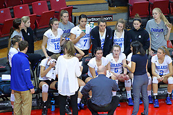 23 November 2017: Drake Bulldogs huddle during a college women's volleyball match between the Drake Bulldogs and the Indiana State Sycamores in the Missouri Valley Conference Tournament at Redbird Arena in Normal IL (Photo by Alan Look)
