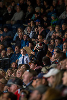 KELOWNA, CANADA - JANUARY 3: Game host Ryan Watters stands with fans during a time out at the Kelowna Rockets against the Tri-City Americans on January 3, 2017 at Prospera Place in Kelowna, British Columbia, Canada.  (Photo by Marissa Baecker/Shoot the Breeze)  *** Local Caption ***