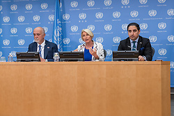 April 4, 2017 - New York, NY, United States - (From left to right): Inigo Lambertini, Agnes Marcaillou and Nazifullah Alarzai are seen at the press conference.  On the occasion of International Mine Awareness Day, UN Mine Action Service Director Agnes Marcaillou , Italy's Deputy Permanent Representative to the UN Inigo Lambertini and Afghanistan's Deputy Permanent Representative to the UN Nazifullah Salarzai spoke at a press conference at UN Headquarters. (Credit Image: © Albin Lohr-Jones/Pacific Press via ZUMA Wire)