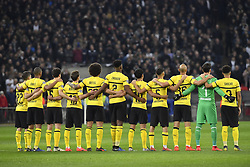 February 13, 2019 - London, England, United Kingdom - Players of Borussia Dortmund stands during the silence moment held in the memory of Emiliano Sala  during the UEFA Champions League, Round of 16 1st leg, 13 match between Tottenham Hotspur FC and Borussia Dortmund, on 13 February 2019, at Wembley Stadium, in London, UK. (Credit Image: © Alex Nicodim/NurPhoto via ZUMA Press)