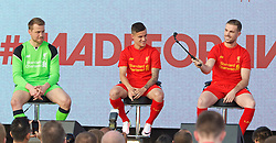 LIVERPOOL, ENGLAND - Monday, May 9, 2016: Liverpool's goalkeeper Simon Mignolet, Philippe Coutinho Correia and captain Jordan Henderson with a GoPro and selfie stick at the launch of the New Balance 2016/17 Liverpool FC kit at a live event in front of supporters at the Royal Liver Building on Liverpool's historic World Heritage waterfront. (Pic by David Rawcliffe/Propaganda)
