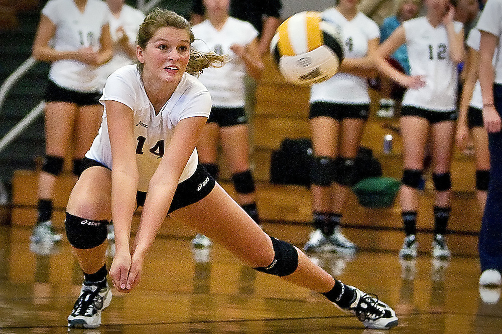 JEROME A. POLLOS/Press..North Idaho College's Marketa Hanzlova moves into position for the dig during Saturday's match against the College of Southern Idaho. The No. 2 Cardinals defeated the No. 1 Golden Eagles in four sets.