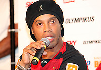 20110112: RIO DE JANEIRO, BRAZIL - Brazilian football star Ronaldinho Gaucho presentation at his new team Flamengo. About 20,000 fans showed up for the official introduction of two-time best player of the World. In picture: Ronaldinho during the press conference. PHOTO: CITYFILES