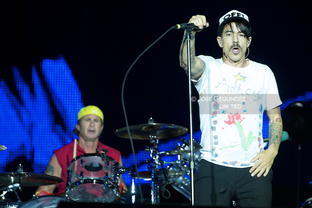 Anthony Kiedis, Michael Balzary (Flea), Chad Smith and Josh Klinghoffer of Red Hot Chili Peppers perrfom on stage durign Day 4 of Rock in Rio Madrid 2012 at Ciudad del Rock in Arganda del Rey, Madrid, Spain