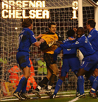 Photo. Javier Garcia<br />08/03/2003 Arsenal v Chelsea, FA Cup Quarter Final, Highbury<br />Carlo Cudicini is mobbed after saving Thierry Henry's penalty at 1-0 up