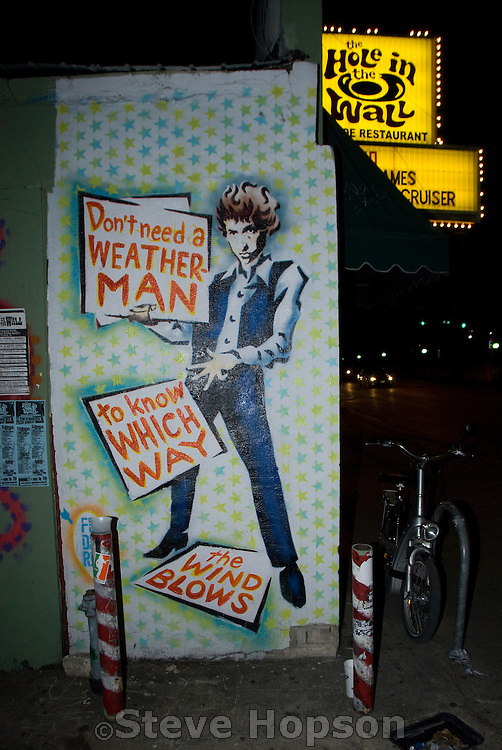 El Federico's Bob Dylan mural on the side of the Hole in the Wall club in Austin Texas during South by Southwest music festival 2008.
