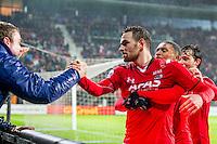 ALKMAAR - 20-02-2016, AZ - FC Groningen, AFAS Stadion, 4-1, AZ speler Vincent Janssen heeft de 1-0 gescoord en viert dat met supporters, AZ speler Dabney dos Santos Souza, AZ speler Joris van Overeem