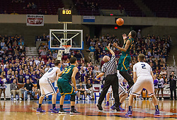 Huntington forward Dajon Congleton (10) jumps for the tip during the Class AAA championship game at the Charleston Civic Center.