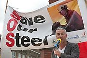 Mark Hannon, PD ports speaking at Corus Save Our Steel March Redcar..© Martin Jenkinson, tel 0114 258 6808 mobile 07831 189363 email martin@pressphotos.co.uk. Copyright Designs & Patents Act 1988, moral rights asserted credit required. No part of this photo to be stored, reproduced, manipulated or transmitted to third parties by any means without prior written permission