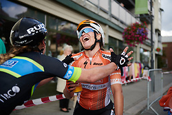 Karol-Ann Canuel (CAN) laughs after getting caught in the final metres at Ladies Tour of Norway 2018 Stage 1, a 127.7 km road race from Rakkestad to Mysen, Norway on August 17, 2018. Photo by Sean Robinson/velofocus.com