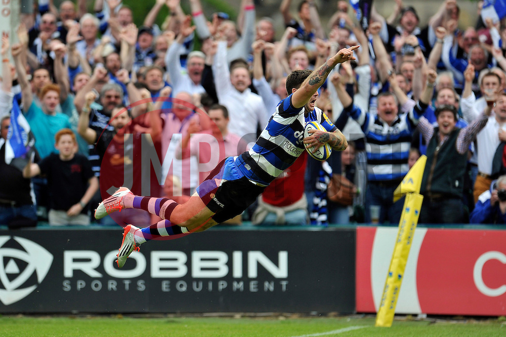 Matt Banahan of Bath Rugby dives for the try-line, scoring his third try of the match - Photo mandatory by-line: Patrick Khachfe/JMP - Mobile: 07966 386802 23/05/2015 - SPORT - RUGBY UNION - Bath - The Recreation Ground - Bath Rugby v Leicester Tigers - Aviva Premiership Semi-Final