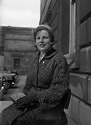 26/03/1957<br /> 03/26/1957<br /> 26 March 1957<br /> Deputies arriving at Dail Eireann, Leinster House, Dublin for first time after election. Miss Brigid Hogan T.D., Galway South.