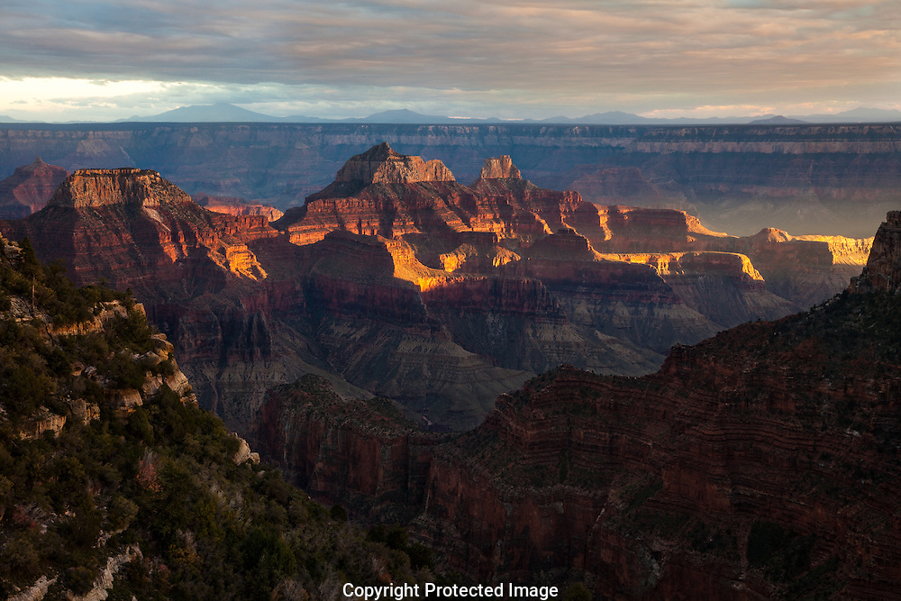 Zoroaster Temple, sunset view from North Rim, Grand Canyon, AZ