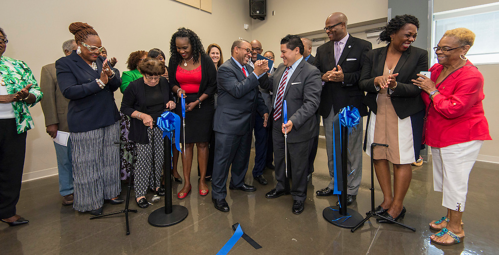 Houston ISD trustee Wanda Adams, Steve Gourrier and Superintendent Richard Carranza cut a ribbon during a ceremony at South Early College High School, October 8, 2016.