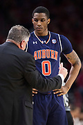 FAYETTEVILLE, AR - FEBRUARY 27:  Head Coach Bruce Pearl talks with Horace Spencer #0 of the Auburn Tigers claps during a game against the Arkansas Razorbacks at Bud Walton Arena on February 27, 2018 in Fayetteville, Arkansas.  The Razorbacks defeated the Tigers 91-82.  (Photo by Wesley Hitt/Getty Images) *** Local Caption *** Bruce Pearl; Horace Spencer