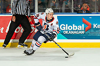 KELOWNA, BC - OCTOBER 12: Connor Zary #18 of the Kamloops Blazers skates with the puck against the Kelowna Rockets at Prospera Place on October 12, 2019 in Kelowna, Canada. (Photo by Marissa Baecker/Shoot the Breeze)