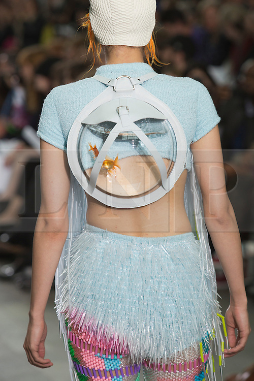 © Licensed to London News Pictures. 28/05/2013. London, England. Collection with a live goldfish in a bowl by Cassandra Verity Green. Central St Martins BA Fashion show with collections by graduate fashion students. Photo credit: Bettina Strenske/LNP