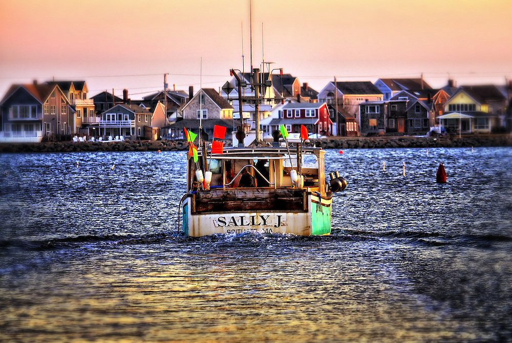 The Sally J heads out to sea from Scituate Harbor in Scituate Massachusetts on a cold February Day.