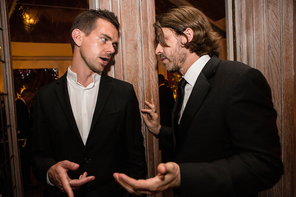 Twitter founder Jack Dorsey, left, attends the Bloomberg Vanity Fair White House Correspondents' Association dinner afterparty at the residence of the French Ambassador on Saturday, April 28, 2012 in Washington, DC. Brendan Hoffman for the New York Times
