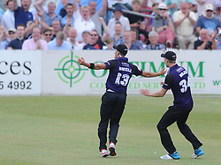 Benny Howell of Gloucestershire celebrates with Craig Miles of Gloucestershire after catching out Sam Billings of Kent - Photo mandatory by-line: Dougie Allward/JMP - Mobile: 07966 386802 - 12/07/2015 - SPORT - Cricket - Cheltenham - Cheltenham College - Natwest Blast T20