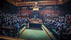 Pictured:   Banksy's Devolved Parliament painting ahead of<br /> it being offered at auction by Sotheby's. The artwork showing the House of<br /> Commons full of chimpanzees is offered for sale by Sotherby's and is expected to fetch £1..5 to £2 million.<br /> <br /> Giannis Alexopoulos | EEm 27.09.2019