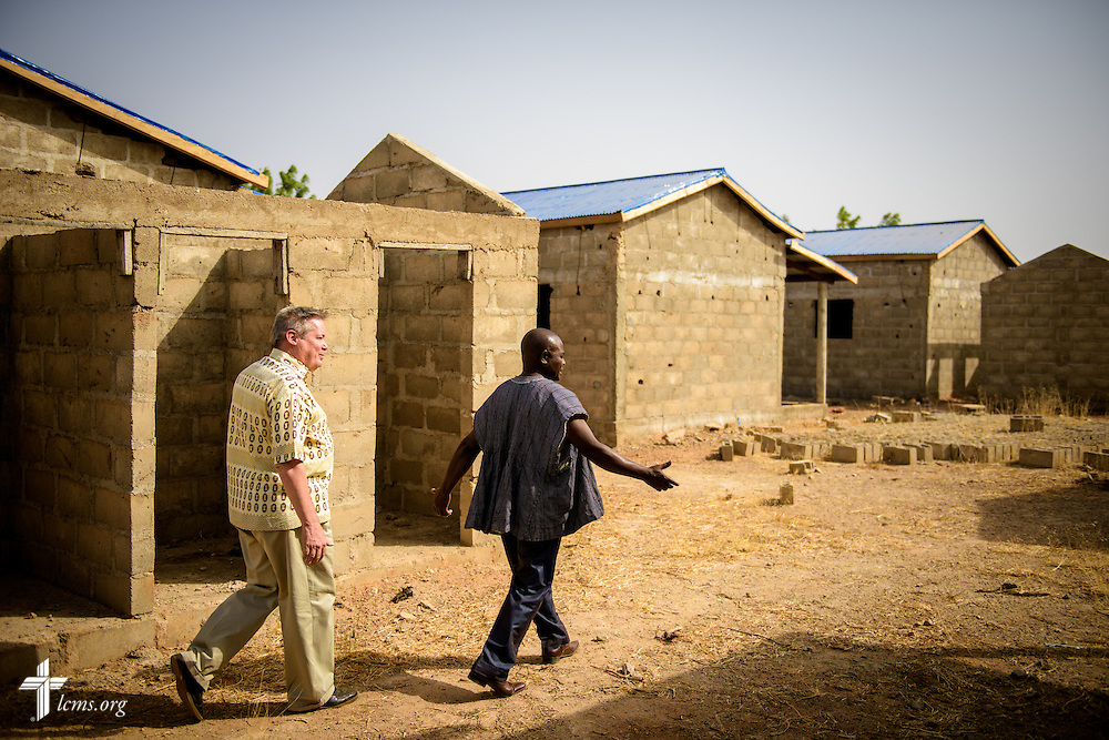 The Rev. Fred Reinhardt, area facilitator for Francophone Africa-West and Central, tours dormitories under construction for students and families of the Lutheran Center for Theological Studies (CLET) on Wednesday, Feb. 15, 2017, in Dapaong, Togo. LCMS Communications/Erik M. Lunsford