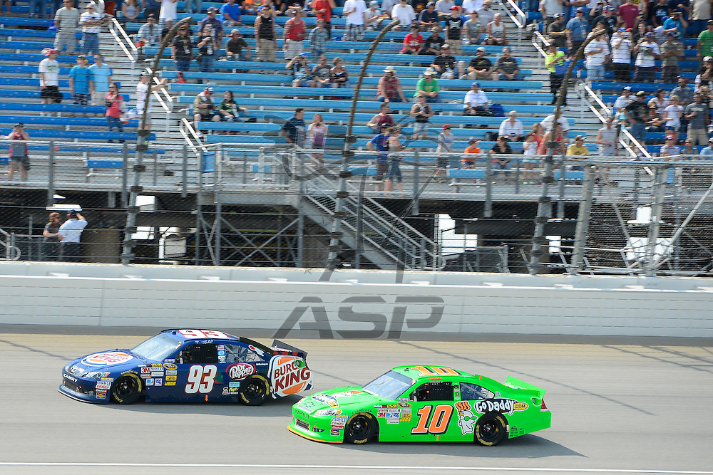Joliet, IL - SEP 16, 2012: Travis Kvapil (93) races during the Geico 400 at the Chicagoland Speedway in Joliet, IL.