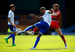Jermaine Beckford of Bury challenges Martin Cranie of Huddersfield Town - Mandatory by-line: Matt McNulty/JMP - 16/07/2017 - FOOTBALL - Gigg Lane - Bury, England - Bury v Huddersfield Town - Pre-season friendly