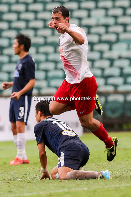 Amicale's Adam Dickinson is overjoyed at scoring. OFC Champions League 2016 Group Stage, Auckland City FC v Amicale FC, QBE Stadium, Auckland, Sunday 17th April 2016. Photo: David Joseph / www.phototek.nz