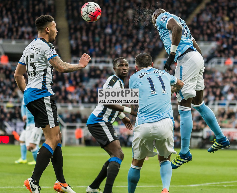 Manchester City defender Eliaquim Mangala (20) /gets in a header in the Premier League match between Newcastle United and Manchester City <br /> <br /> (c) John Baguley | SportPix.org.uk