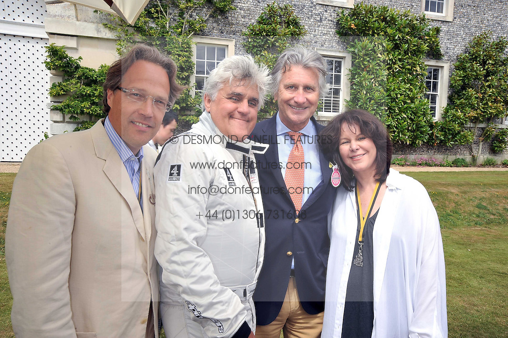 Left to right, the EARL OF MARCH, JAY LENO, ARNAUD BAMBERGER and MAVIS LENO at a luncheon hosted by Cartier for their sponsorship of the Style et Luxe part of the Goodwood Festival of Speed at Goodwood House, West Sussex on 5th July 2009.