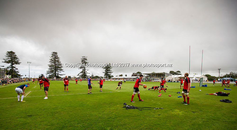 Crusaders warm up, Hurricanes v Crusaders, Super rugby preseason match, Farmlands Grass Roots Rugby, Border Rugby Club, Waverley, New Zealand. Friday,  17 February, 2017. Copyright photo: John Cowpland / www.photosport.nz