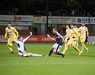 Dundee&rsquo;s Paul McGowan fires the Dark Blues level - Dundee v Hearts in the Ladbrokes Scottish Premiership at Dens Park, Dundee - Photo: David Young, <br /> <br />  - &copy; David Young - www.davidyoungphoto.co.uk - email: davidyoungphoto@gmail.com