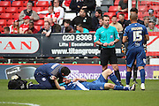 Birmingham City midfielder, Jon Toral (20) injured during the Sky Bet Championship match between Charlton Athletic and Birmingham City at The Valley, London, England on 2 April 2016. Photo by Matthew Redman.