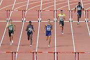 Abdelmalik Lahoulou (Algeria), Ludvy Vaillant (France), Rasmus Magi (Estonia), Constantin Preis (Germany), Malique Smith (Virgin Islands), 400 Metres Hurdles Men - Round 1, Heat 5, during the 2019 IAAF World Athletics Championships at Khalifa International Stadium, Doha, Qatar on 27 September 2019.