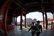 Gugong (Forbidden City, Imperial Palace). Wumen (Meridian Gate, l.) and Xihe Men (r.) seen from Taihe Men.