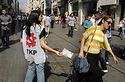 Turkije, Istanbul, 2-6-2011Verkiezingcapagne van de turkse communistische partij, de TKP, in Istanbul in de aanloop naar de verkiezingen voor het parlement op 16 juni. Foto: Flip Franssen