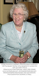 DAME FRANCES CAMPBELL PRESTON lady in waiting to HM The Queen Mother, at a reception in London on 10th April 2001.	ONA 5