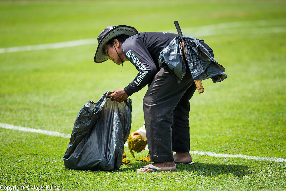 "29 AUGUST 2013 - HUA HIN, PRACHUAP KHIRI KHAN, THAILAND:  A worker picks up elephant dung during a lull in the action at the King's Cup Elephant Polo Tournament in Hua Hin. The tournament's primary sponsor in Anantara Resorts and the tournament is hosted by Anantara Hua Hin. This is the 12th year for the King's Cup Elephant Polo Tournament. The sport of elephant polo started in Nepal in 1982. Proceeds from the King's Cup tournament goes to help rehabilitate elephants rescued from abuse. Each team has three players and three elephants. Matches take place on a pitch (field) 80 meters by 48 meters using standard polo balls. The game is divided into two 7 minute ""chukkas"" or halves. There are 16 teams in this year's tournament, including one team of transgendered ""ladyboys.""    PHOTO BY JACK KURTZ"